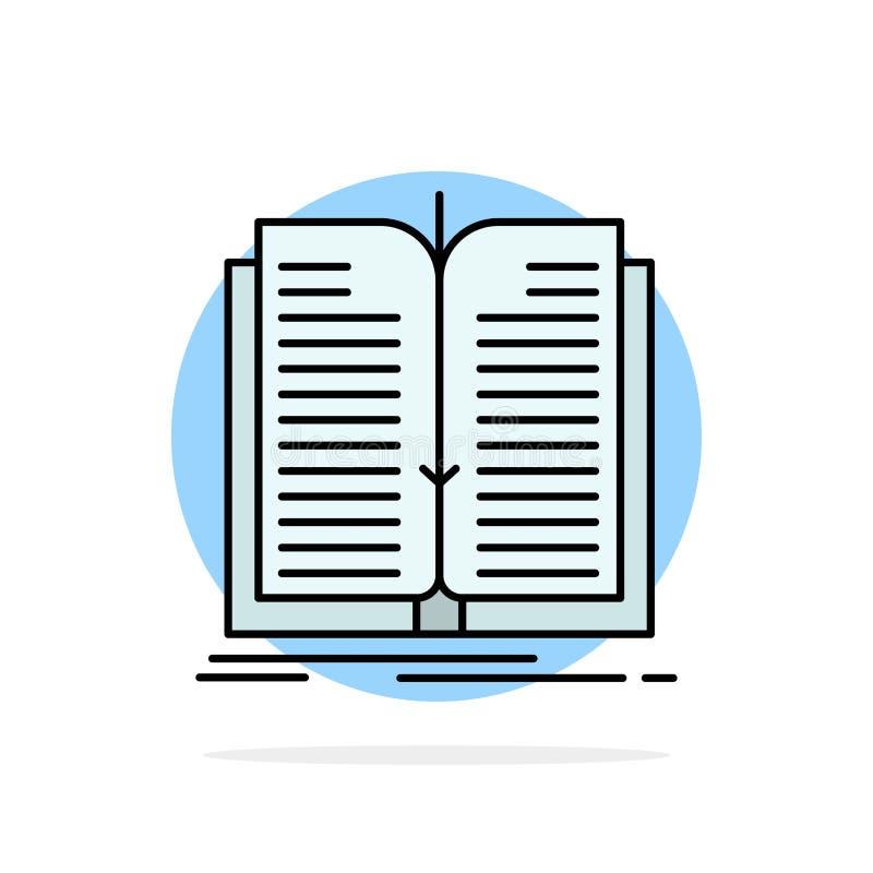 Aplicação, arquivo, transferência, ícone liso da cor do fundo do círculo do sumário do livro ilustração stock