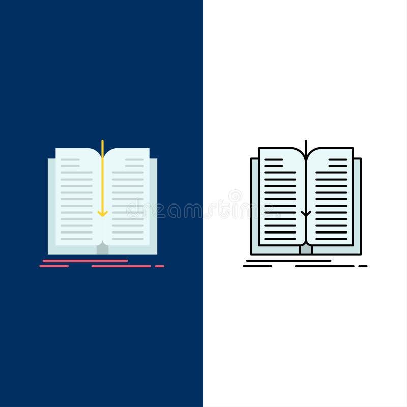 Aplicação, arquivo, transferência, ícones do livro O plano e a linha ícone enchido ajustaram o fundo azul do vetor ilustração do vetor
