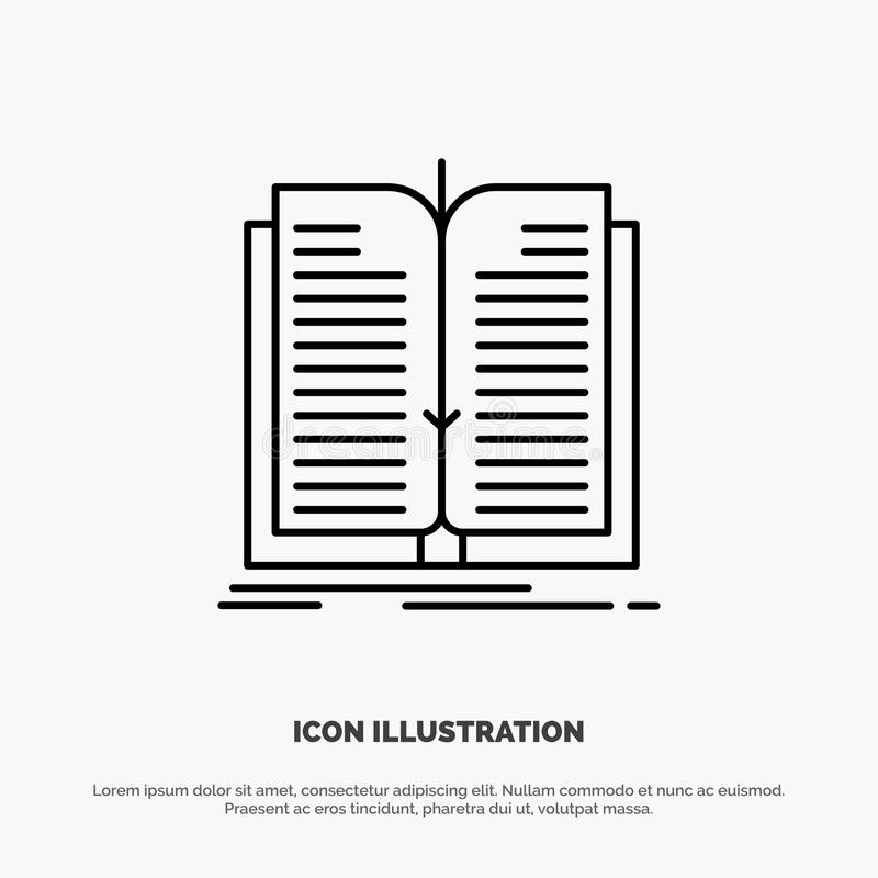 Aplicação, arquivo, transferência, linha vetor do livro do ícone ilustração stock