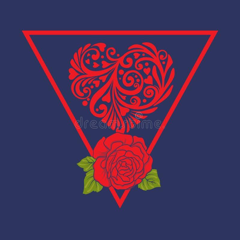 Aplicação com rosas vermelhas e folhas do cannabis ilustração stock