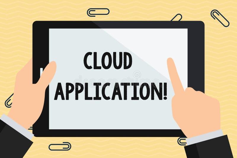 Aplicação conceptual da nuvem da exibição da escrita da mão Texto da foto do negócio o programa de software onde trabalhos de com ilustração royalty free
