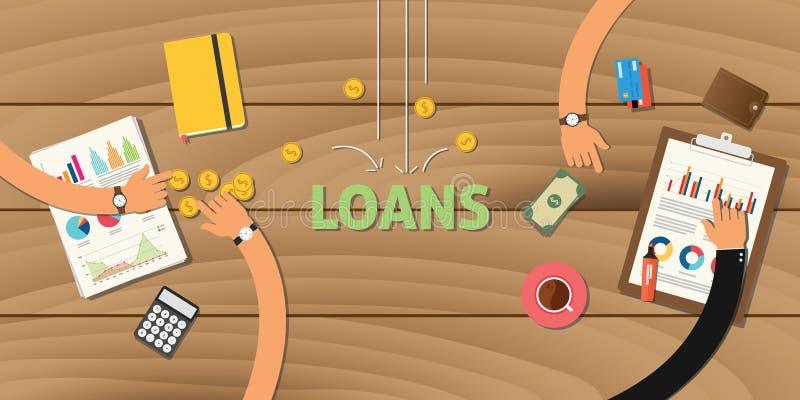 A aplicação da finança do empréstimo analisa o negócio dos dados ilustração do vetor