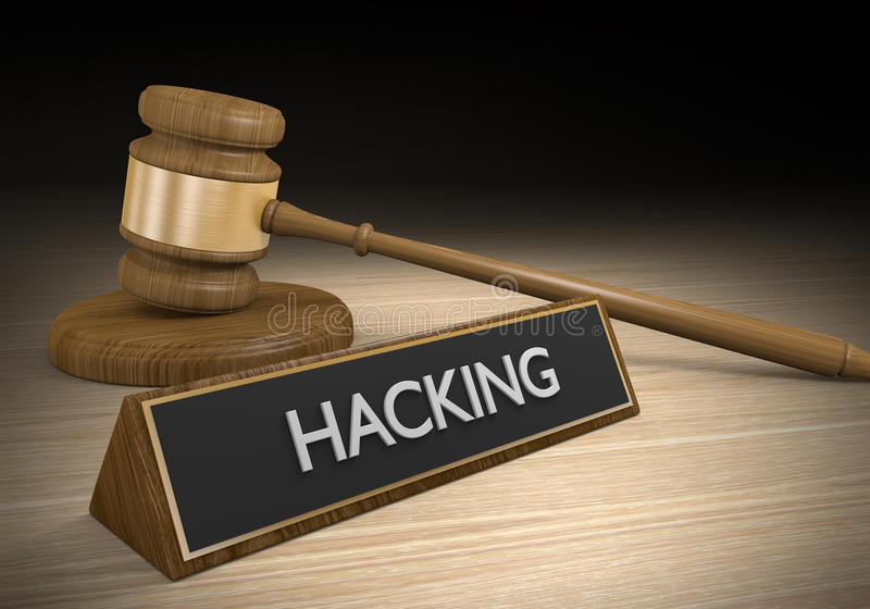 Aplicação da lei e argumentos legais contra o corte e o crime do cyber, rendição 3D ilustração stock
