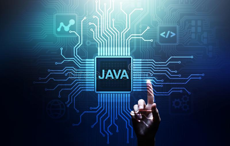 Aplicação da linguagem de programação de Java e conceito do desenvolvimento da Web na tela virtual ilustração do vetor