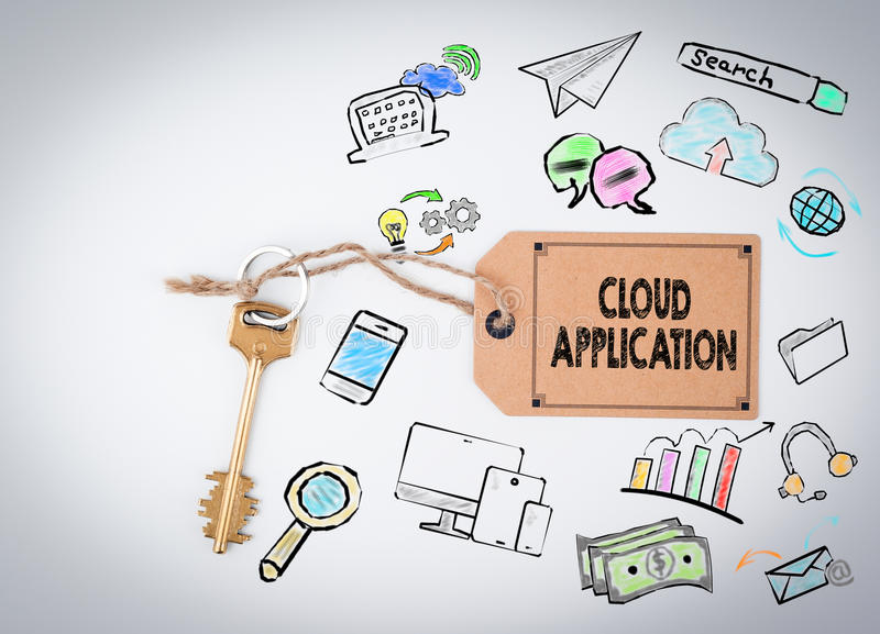 Aplicação da nuvem Chave em um fundo branco ilustração do vetor