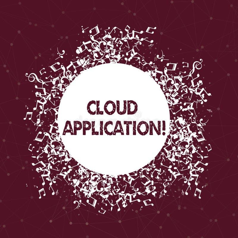 Aplicação da nuvem da exibição do sinal do texto Foto conceptual o programa de software onde trabalhos de computação da nuvem des ilustração do vetor
