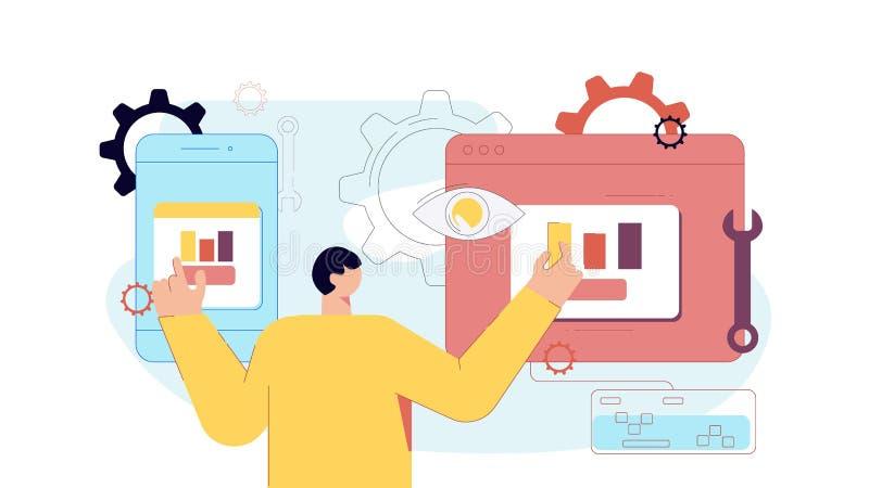Aplicação de teste do revelador macho do desenho animado de smartphone e computador pc vetor ilustração plana ilustração stock