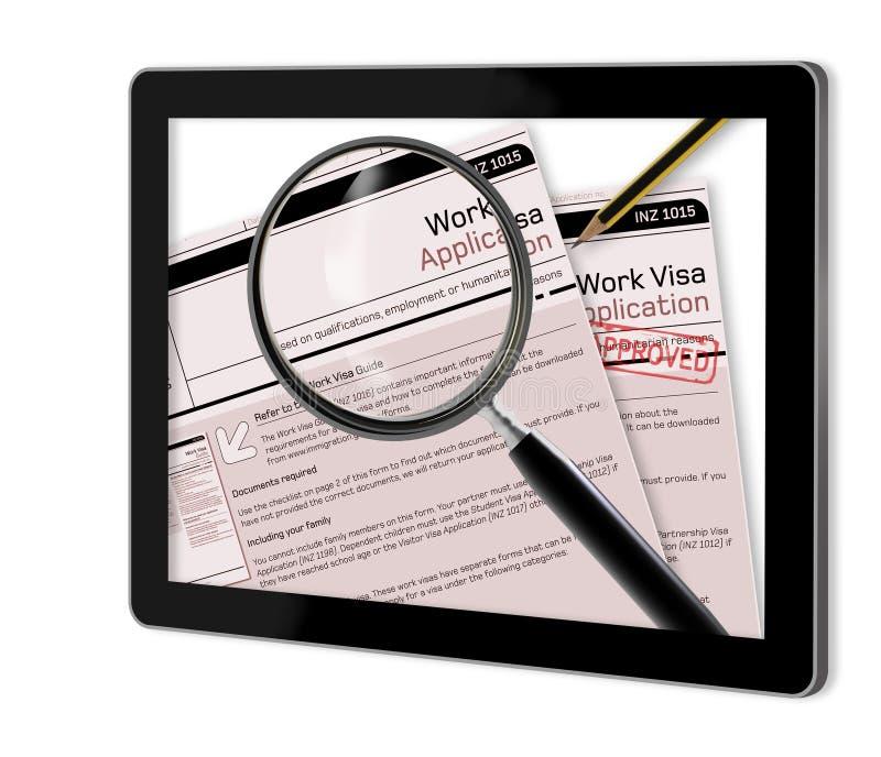 Aplicação de visto do trabalho ilustração stock