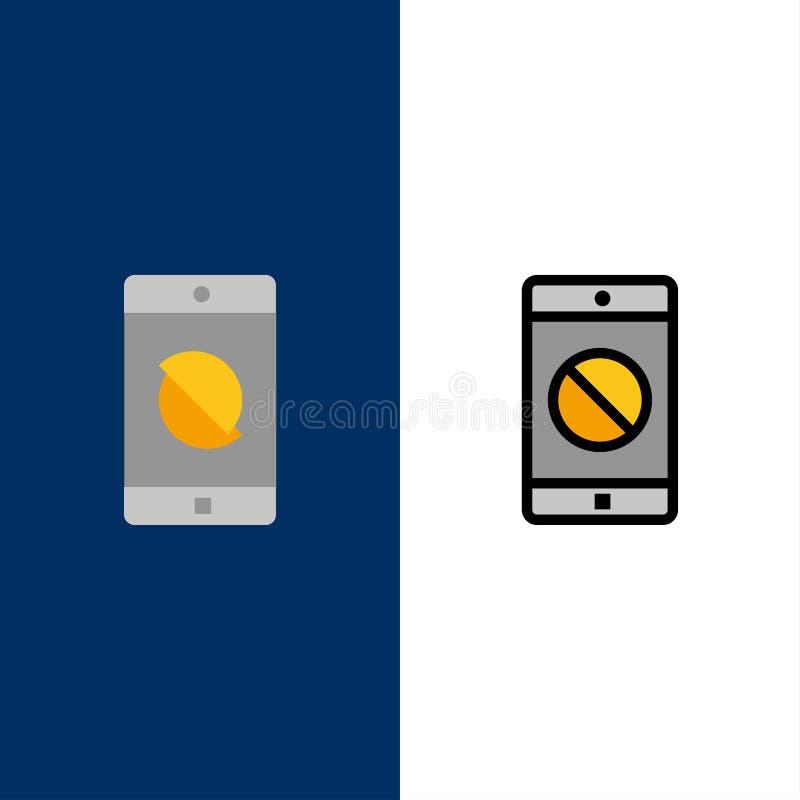 Aplicação deficiente, móbil deficiente, ícones móveis O plano e a linha ícone enchido ajustaram o fundo azul do vetor ilustração do vetor