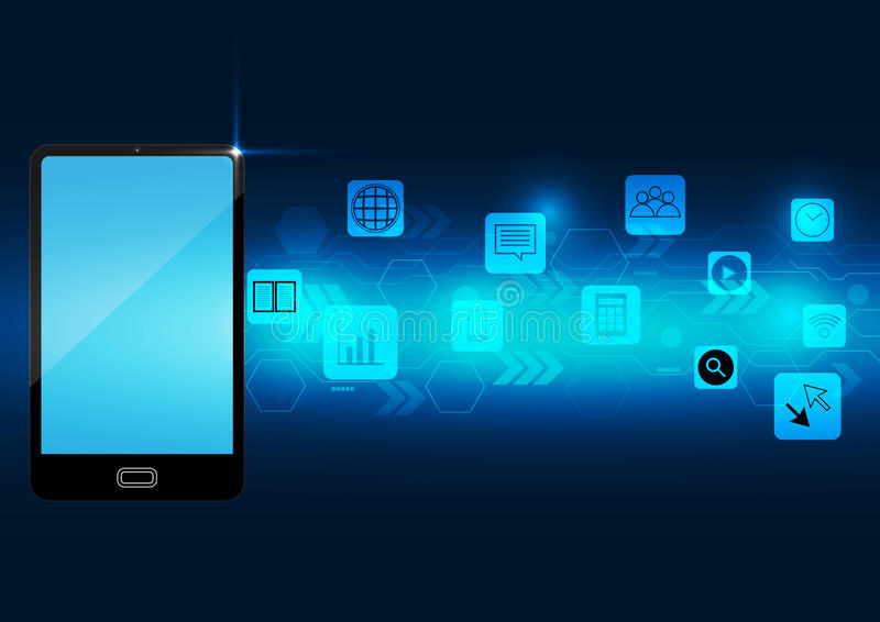 Aplicação digital do telefone esperto abstrato na obscuridade - fundo azul ilustração stock