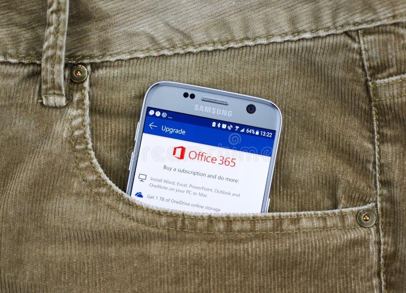 Aplicação do androide de Microsoft Office 365 imagens de stock