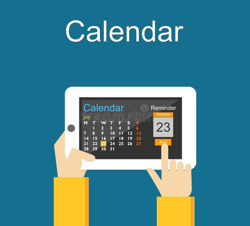 Aplicação do calendário no telefone celular Conceito do lembrete ilustração royalty free