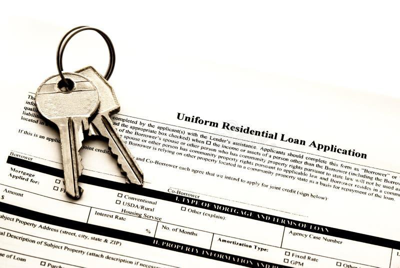 Aplicação do empréstimo hipotecario fotos de stock