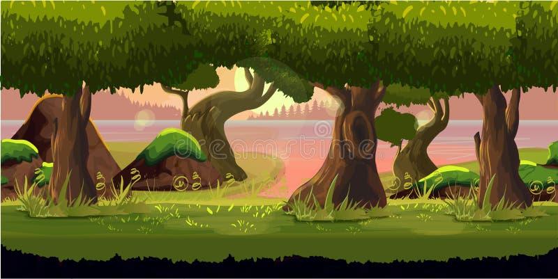 Aplicação do fundo do jogo da floresta 2d Projeto do vetor fotografia de stock