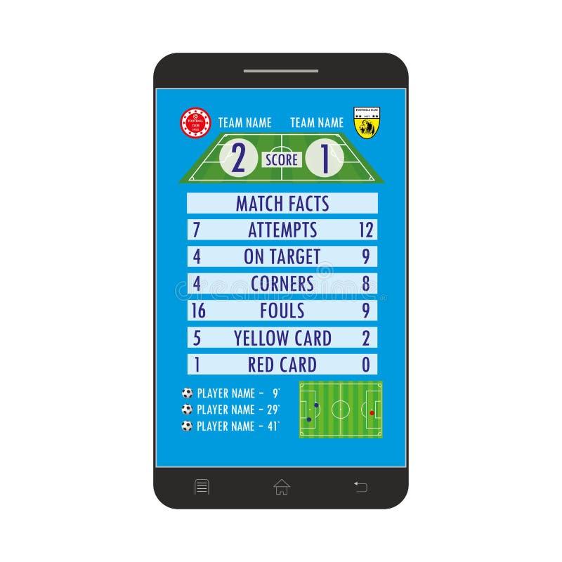 Aplicação do futebol ou do futebol na tela do smartphone ilustração do vetor