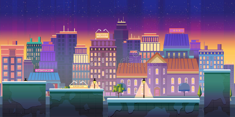 Aplicação do jogo do fundo do jogo da cidade 2d Projeto do vetor Tileable horizontalmente ilustração stock