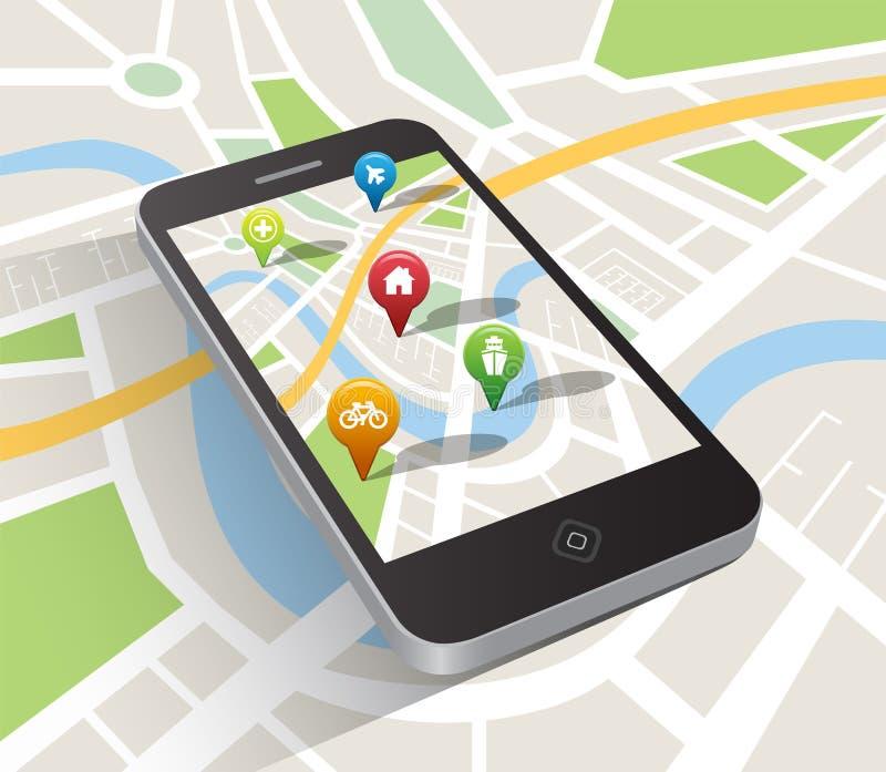 Aplicação do mapa no smartphone ilustração royalty free