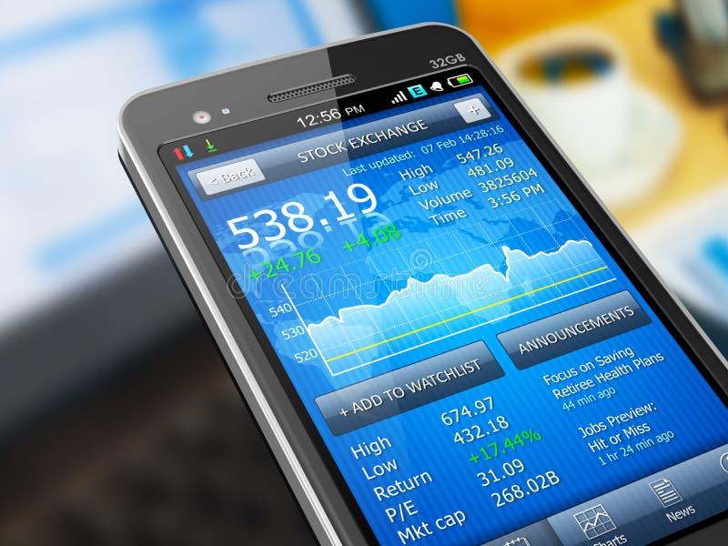 Aplicação do mercado de valores de acção no smartphone ilustração royalty free