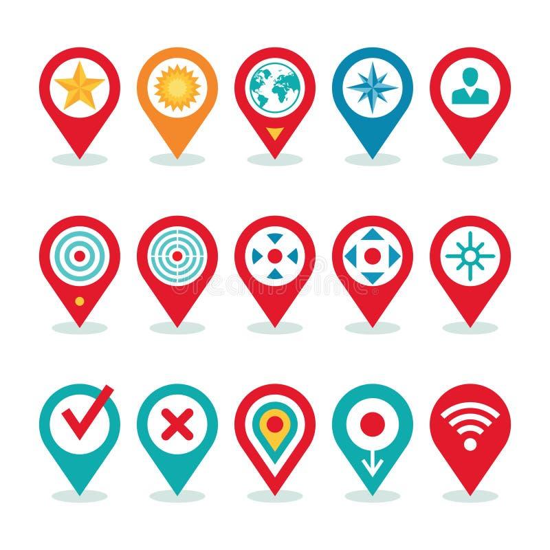 Aplicação do mundo moderno - coleção dos ícones do lugar - símbolos da navegação ilustração do vetor