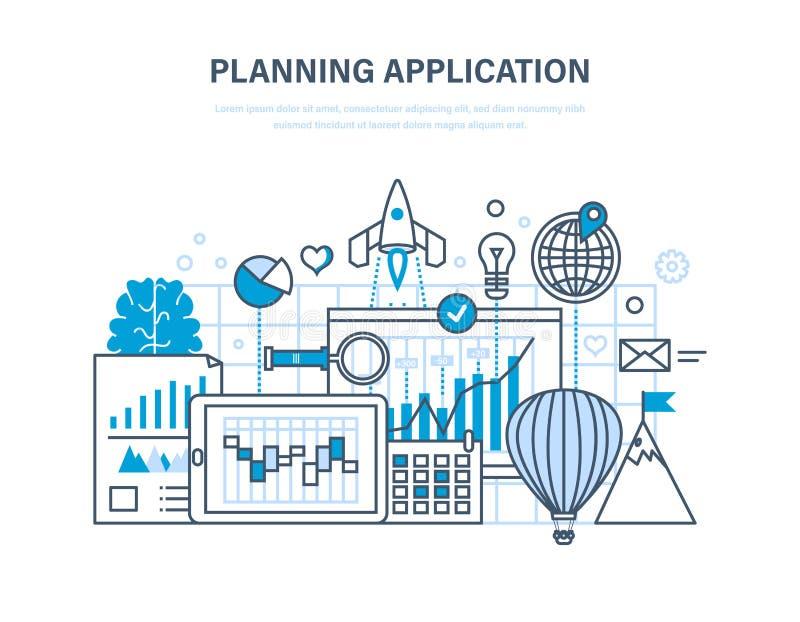 Aplicação do planeamento Programando e codificando em linha, processo de desenvolvimento do app do desktop ilustração royalty free