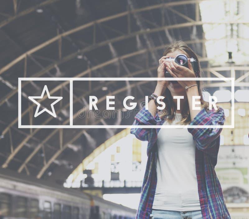A aplicação do registro aplica-se incorpora o conceito da sociedade fotos de stock royalty free