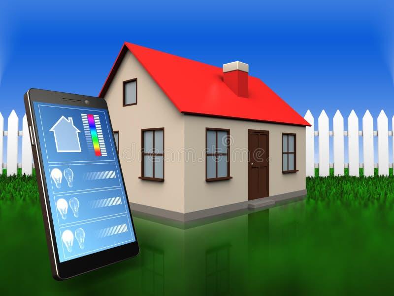 aplicação do telefone 3d sobre a grama e a cerca ilustração do vetor