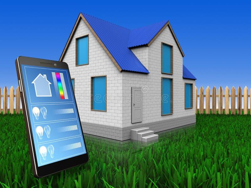 aplicação do telefone 3d sobre o gramado e a cerca ilustração stock