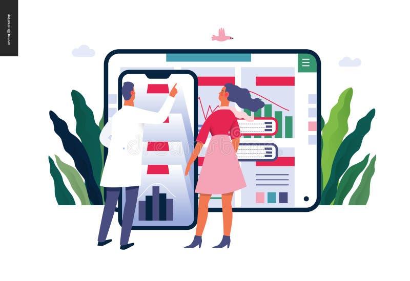 Aplicação dos relatórios médicos - ilustração do seguro médico ilustração do vetor