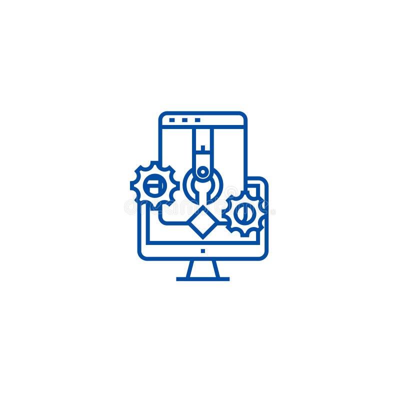 A aplicação e o software desenvolvem a linha conceito do ícone A aplicação e o software desenvolvem o símbolo liso do vetor, sina ilustração do vetor