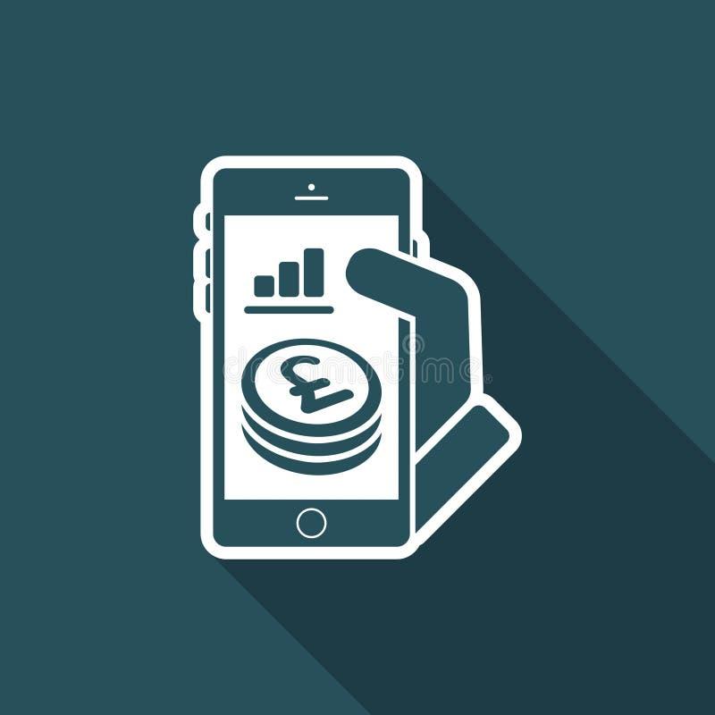 Aplicação financeira no smartphone - Sterling ilustração stock