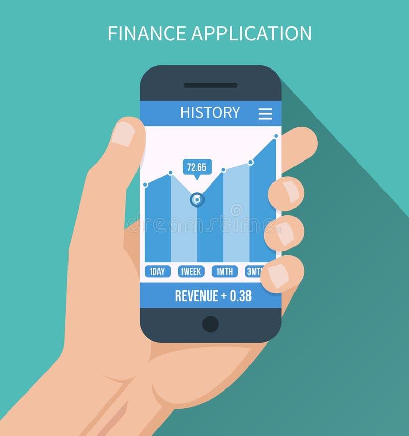 Aplicação financeira Telefone esperto com negócio ilustração do vetor