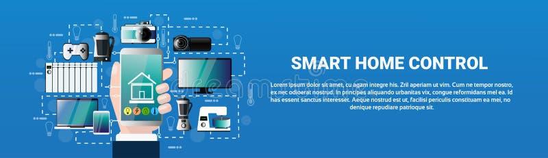 Aplicação home esperta de Smartphone da posse da mão do sistema de controlo ilustração do vetor