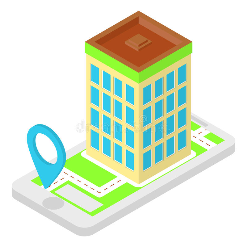 Aplicação isométrica do lugar ilustração stock
