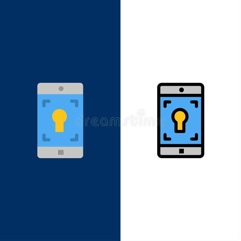 Aplicação, móbil, aplicação móvel, ícones da tela O plano e a linha ícone enchido ajustaram o fundo azul do vetor ilustração stock