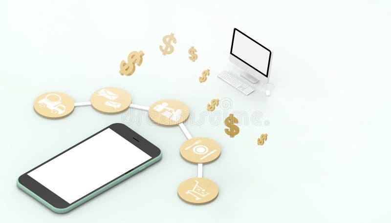 A aplicação móvel de compra em linha e o dinheiro do conceito do mercado de Digitas do telefone esperto conectam o fundo azul do  ilustração do vetor