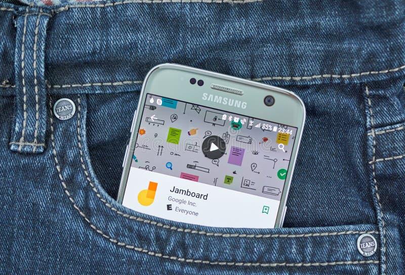 Aplicação móvel de Jamboard na tela de Samsung imagem de stock royalty free