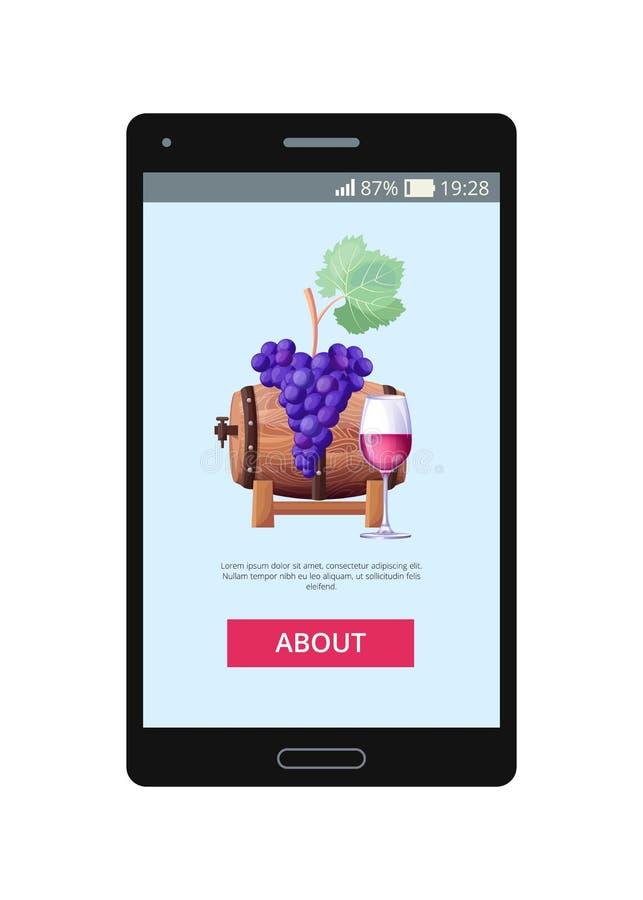 A aplicação móvel deixa para pedir o vetor do vinho tinto ilustração stock