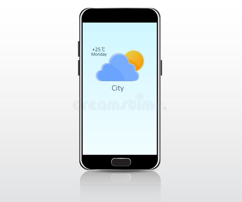 Aplicação móvel do tempo ilustração do vetor
