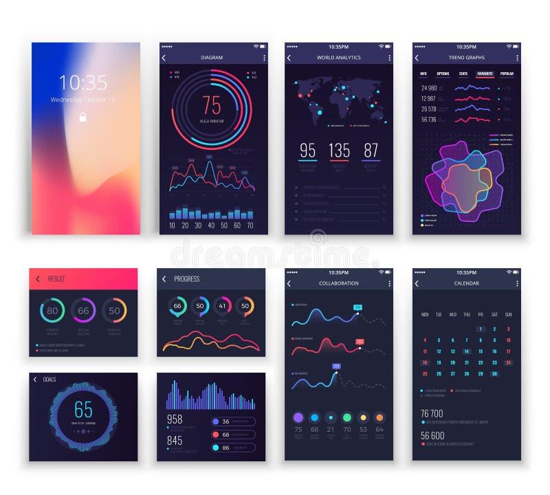 A aplicação móvel UI e Smartphone UX vector moldes com cartas e diagramas ilustração do vetor
