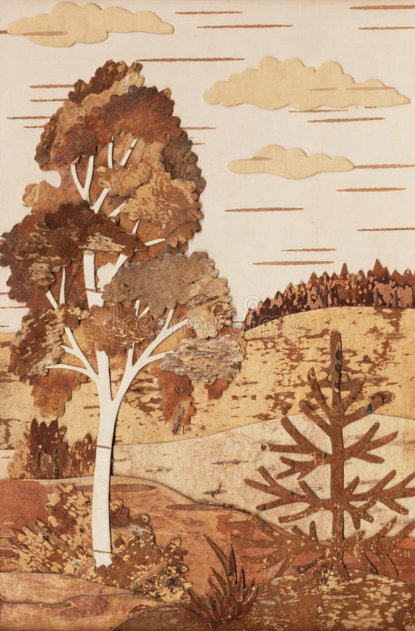 Aplicação: paisagem com um vidoeiro e uma pele-árvore ilustração do vetor