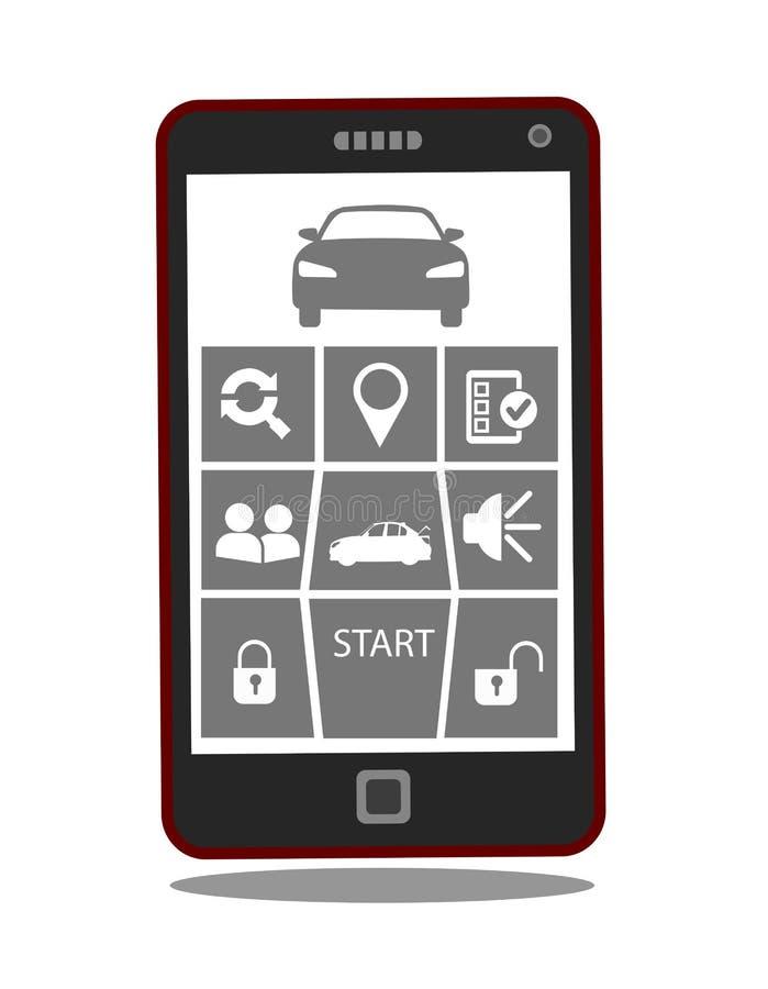 Aplicação remota do telefone celular do acionador de partida ou do sistema de controlo do carro ilustração stock