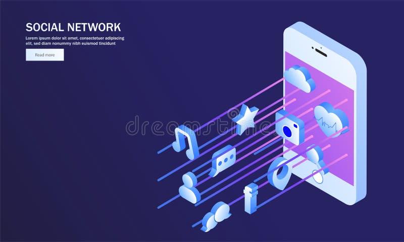 Aplicação social múltipla dos meios na tela isométrica do smartphone ilustração royalty free