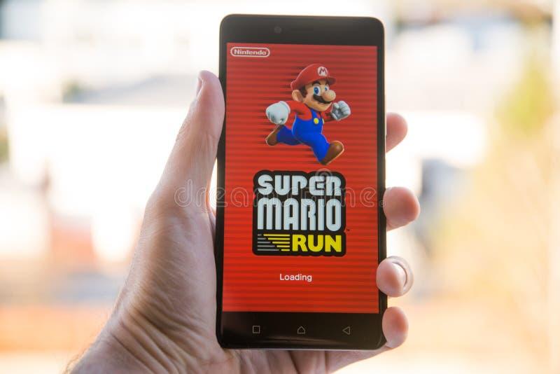 Aplicação super de Mario Run fotos de stock