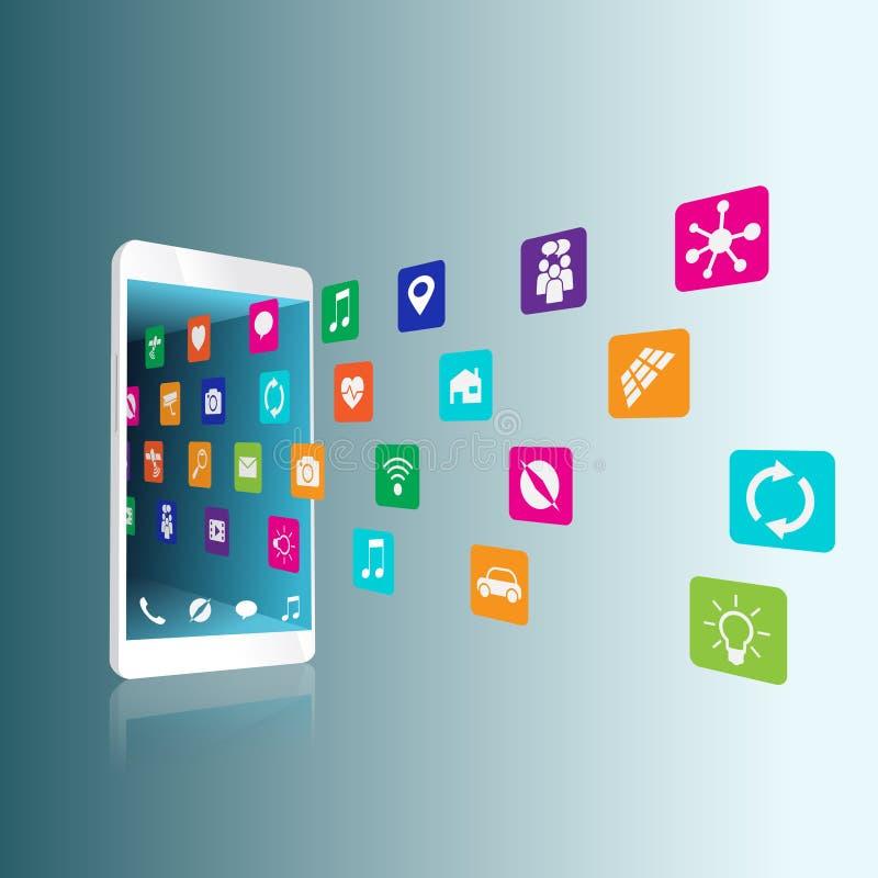 A aplicação transferida e instalada ou é desinstalada, suprimido no smartphone ilustração royalty free