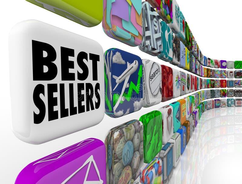 Aplicações da parede da lista de classificação do App dos melhores vendedores ilustração stock