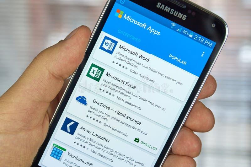 Aplicações do móbil de Microsoft Office fotografia de stock royalty free