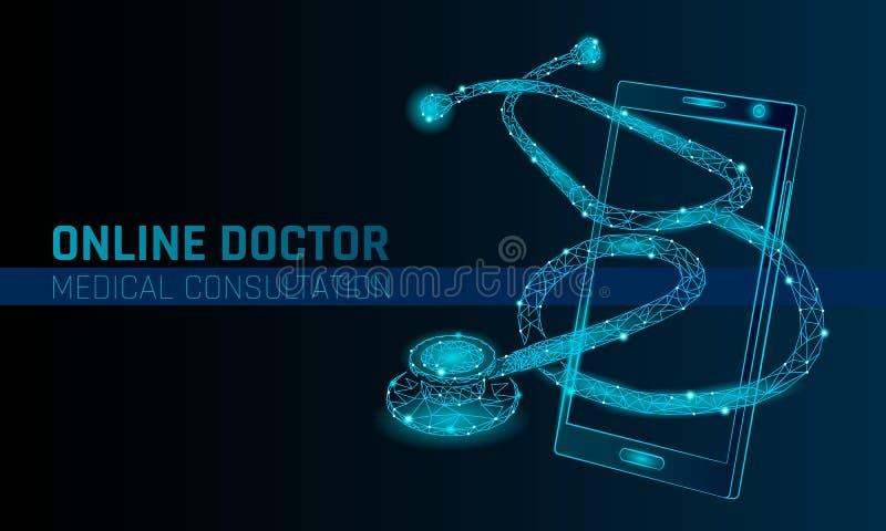 Aplicações médicas em linha do móbil do doutor app Bandeira do conceito do diagnóstico da medicina dos cuidados médicos de Digita ilustração do vetor