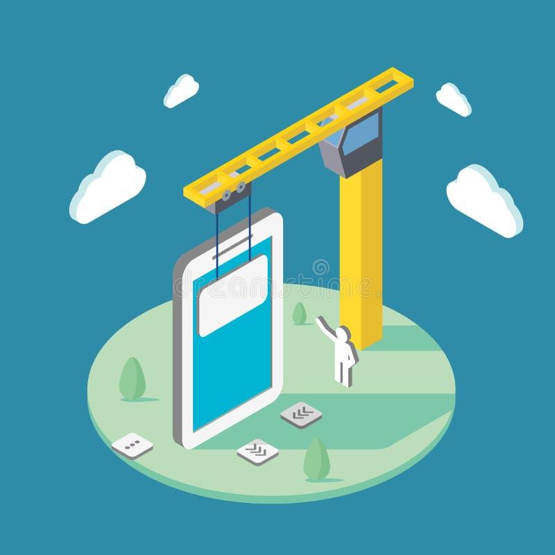 Aplicações móveis de construção usando um guindaste Ilustração isométrica ilustração stock