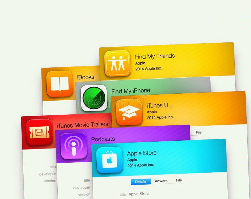 Aplicações populares por Apple na exposição de computador foto de stock royalty free