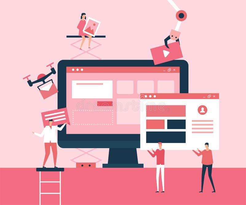 Aplicación de escritorio - ejemplo plano del estilo del diseño stock de ilustración